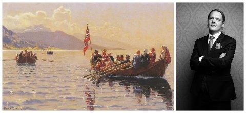 PÅ JAKT ETTER SPOR: Hans Dahl sitt måleri Brudeferd i Sognefjorden rauk ut for 420.000 kroner på auksjon i 1999. Frode Skag Storheim  jobbar no med å finna stoff til ein boigraf om kunstnaren.