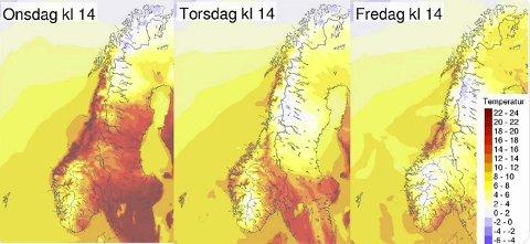 Varmen blir borte over hele landet de neste dagene.