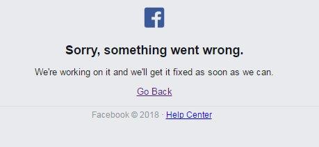 Denne feilmeldingen møtte brukere på Facebook torsdag.