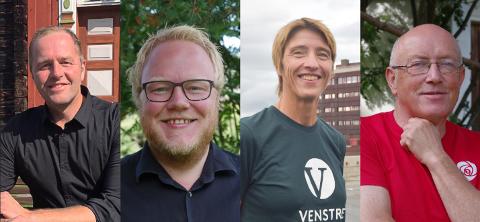 F.v Leif Vingelen (SP), Bjørnar Tollan Jordet (SV), Toril Østvang (V) og Knut Sagbakken (AP) er ordførerkandidater på Tolga.