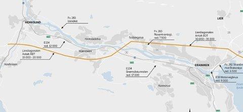 Ny E 134: Slik ser Statens vegvesen for seg at E 134 om ikke alt for lenge skal gå fra Lier til Øvre Eiker.         Illustrasjon: Statens vegvesen