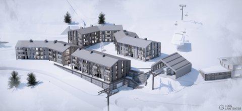 Slik er første byggetrinn i det nye sentrumsområdet i Kvitfjell. Planen består av 80 leiligheter ved gondolen, som i dag binder sammen vestsida og den nye fjellsiden Varden.