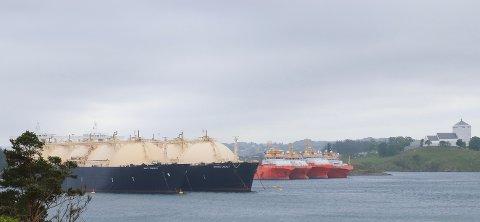 ER I GANG: Disse skipene i opplag i Bøvågen er koblet til landstrøm.