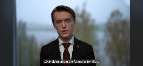 Ungdomsordfører: Daniel Evjebråten talte til kommunen på nasjonaldagen.
