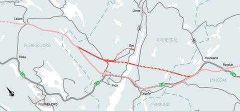 LYNGDAL: Kartet viser utsnitt av E39 fra Lyngdal vest til Flekkefjord, hvor Nye Veier ønsker å vurdere ny trasé over Fedafjorden i Kvinesdal kommune.