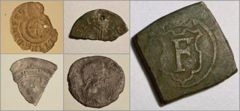 HONORERT: Disse myntene og myntbitene gav penger i kassa for finnerne.