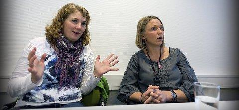 SKAL STYRE SAMMEN: Tuva Moflag (til venstre) og Camilla Hille vil få en dragkamp om hvor langt mot sentrum politikken skal bevege seg i Ski. Foto: Ole. Kr. Trana
