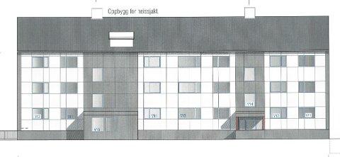 Slik har Lundesgaard Arkitektkontor tegnet den nordlige fasaden - inngangspartiet.