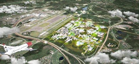 SKAL UTVIKLES: Gardermoen Næringspark skal utvikles. Ny politihøyskole og et badeland er noe av det som eier Oslo Airport City ser for seg på eiendommen. Illustrasjon: Nordic-Haptic