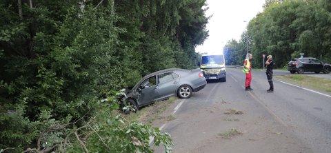 KJØRTE UTFOR: Bilen har truffet en fjellknaus, noen busker og småtrær før den stoppet.