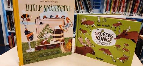 BOKTIPS: Biblioteksjef Marit Karlberg anbefaler «Skogens konge» av Line Halsnes og «Hjelp småkrypene» av Kristine Kujath Thorp.