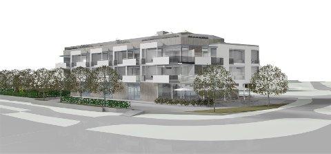 Et treetasjes bygg med både næringslokaler og boliger vil stå ferdig i Nesoddens mest trafikkerte kryss i løpet av et par år. Illustrasjon: Kile Stokholm Arkitekter AS