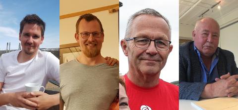 Listetopper i Holtålen. F.v Arve Hitterdal (Framtida Holtålen), Per Langeng (SP), Dag Knudsen (AP) og Olav Halvor Megård (Pensjonistpartiet).