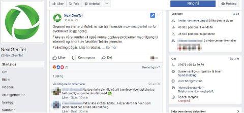 Folk hisser seg opp på Nextgentel sine Facebook-sider søndag, da svært mange mangler internett og selskapets nettside har krasjet.