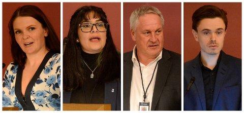Kristin Gjerde Løvaas (t.v.), Rose Jahanfarah, Kjell Arne Hermansen og Herman Ekle Lund er noen av politikerne som har fått plass i nærutvalgene.