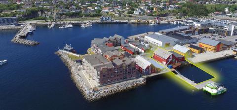 Med kaifront mot det travle Nærøysundet er bryggeeiendommen Havnegata 8 et sentralt element i bybildet i Rørvik. Nå inngår brygga i Harry Bøes planer for eiendomsutvikling på begge sider av sundet. Illustrasjon fra prospekt.