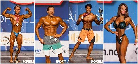 Disse gjorde det skarpt under helgas NM i fitness og bodybuilding; fra venstre Vebjørn Nettum, Marius Ellingsen, Ronnaphum Angkaew og Tone Elise Olstad.