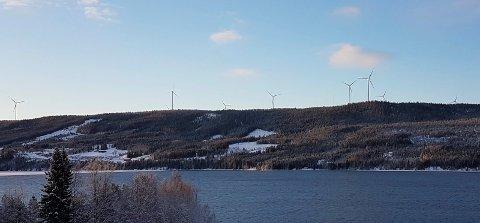 UTSIKT FRA ØSTSIDEN: Her er deler av Raskiftet vindkraftverk sett fra østsiden av Osensjøen. (Foto: Privat)