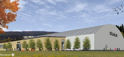 OPPSTART I SOMMER: Slik blir det nye fotballhallen på Sagbakken seende ut. Da bruker man garderober og en del  av de øvrige fasilitetene som var i den gamle hallen. Illustrasjon: Norconsult