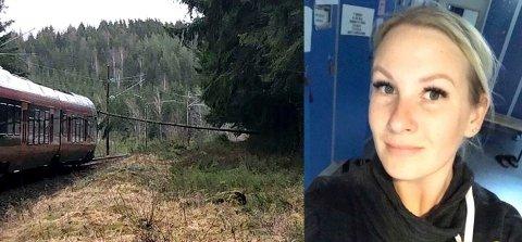 Linn Jacobsen hadde akkurat blitt evakuert fra et tog som måtte stanse for et veltet tre da hun kom inn på bussen som skulle frakte dem videre.