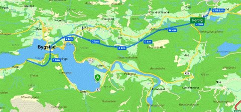 Alternativ frå kommunen/Norconsult som gir minst konflikt - alternativ A3 i Båtevika, bru over svesundet, alternativ C2 gjennom Bygstad.