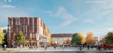 Fredrikstad skal få ny Frederik II videregående skole. Men det er ikke satt noe nytt årstall for når den skal være ferdig. Her ser vi skolen i vinnerforslaget Campus. Tegning: Link Arkitektur/Griff Arkitektur