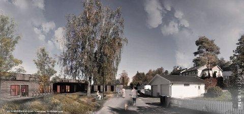 KLART FOR  BOLIGPROSJEKT: Planutvalgsflertallet ga tirsdag rammetillatelse til  dette boligprosjektet (til venstre) i Oldenborgila. Det skal gi bolig til  sju unge mennesker.
