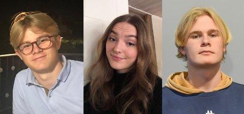 TUNG TID: Jacob Tandberg, Inga Bjørnsund og Truls Augus Råen er alle urolige for situasjonen vi nå står i. For enkelte unge er det ekstra vanskelig å takle.