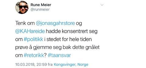 PROVOSERTE AP: Det er denne tweeten som fikk Gry Haugsbakken, leder i Gran Ap, til å steile. - Forkastelig av Rune Meier, sier Haugsbakken til Hadeland.