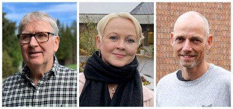 KOMMUNEOVERLEGER: Are Løken, Marthe Bergli og Bjarne Oure er kommuneoverleger i hver sin kommune på Hadeland. Nå gjør de seg klare for vaksinasjon på nyåret.