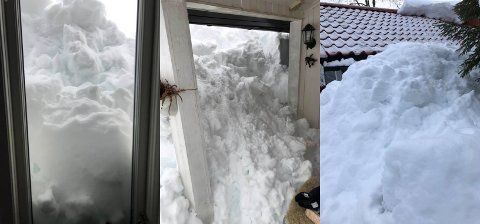 SNØRAS DEKKER HYTTA: Nesten hele hytta til Terje Thorbjørnsen på Skumsjøen var dekket av tung snø da han ankom fredag. Han advarer andre mot de store snømengdene som har kommet på kort tid.