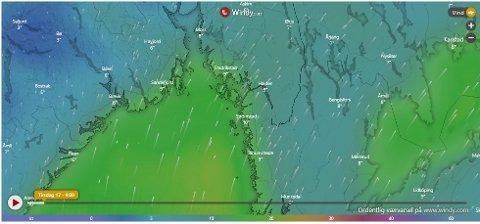 Det er meldt mye vind og regn i Halden denne uka.
