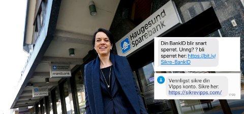 IKKE TRYKK: Får du en slik melding, må du ikke trykke på lenka. Bente Haraldson Syre i Haugesund Sparebank sier de får henvendelser om dette nærmest daglig.