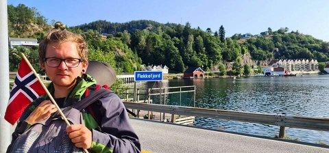 I MÅL: Bjørnar Krogedal kom seg frem. Her har han tilbakelagt 12.5 mil fra Kvernaland til Flekkefjord.