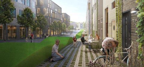 SKISSE: Denne skissen er presentert i mulighetstudien av Edvardsløkka som et sted hvor boliger og næring samlokaliseres. Kommunens eldre-prosjekt omfatter i første omgang 48 omsorgsboliger med tilhørende fasiliteter.