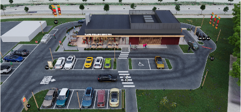 SKISSE: Skisse av det nye spisestedet på Hvam.