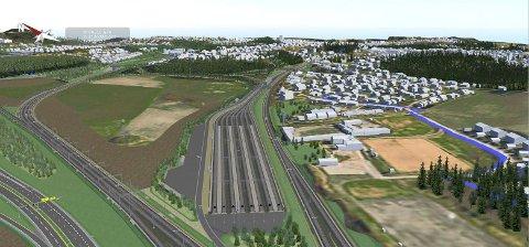 KRYMPER LITT: Togparkeringen ved Tolpinrud blir ikke fullt så stor som først planlagt.