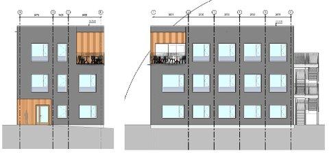 FASADE: Slik vil de bygge nytt administrasjonsbygg ved Skien fritidspark.