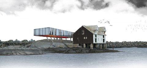 Et moderne tilbygg og en gammel saltfiskbrygge skal utgjøre Moloen hotel på Veiholmen.