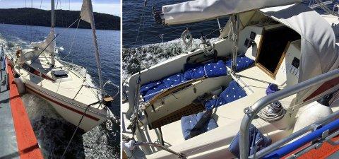 FANT BÅTEN: Mannens seilbåt ble funnet med motoren i gang, men ingen om bord. Dette bildet er fra da båten ble slept inn til kai.