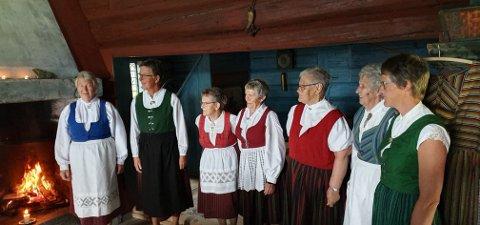 Medlemmene fra Kirkekretsen kvinneforening med sine hverdagsbunader.