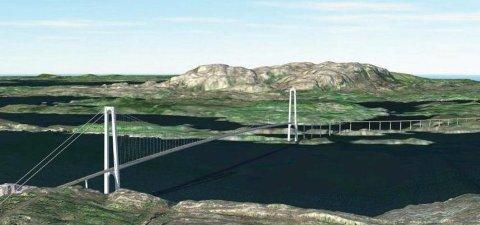 Slik ser ein for seg den framtidige brua over Herdlafjorden mellom Abedissen og Ypso.
