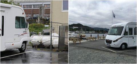 KONTRASTAR: Til høgre bubilparkeringa i Måløy sentrum. Til venstre, den på Stranda i Florø.