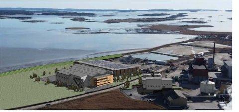 Her ser vi det planlagte renseanlegget på Øra som skal bygges mellom Frevars forbrenningsanlegg og Batteriretur.  Frevar bygger helt nytt, og dagens anlegg avvikles når det nye står ferdig. Illustrasjon: Multiconsult/Frevar, fra saksutredningen.