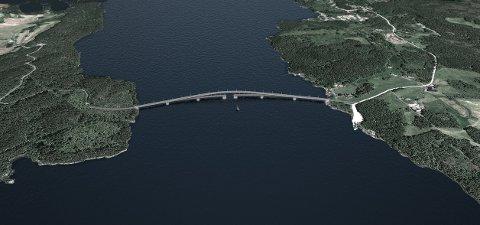 Fjelbergsambandet er basert på to bruer og ein del ny veg. Her ser vi ei skisseforslag over bru mellom Sydnes og Fjelbergøy. (Illustrasjon: LMG Marin AS / Nordwest3D AS).