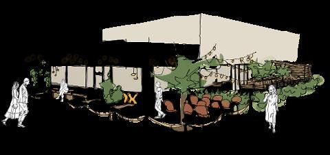 SKISSE: Slik ser Studio Strek og Ox Steak House for seg at restauranten kan sette preg på gatebildet i Steinkjer.