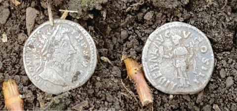 ROMERSK SØLVDENAR: Dette er den siste av to romerske sølvdenarer som er funnet på det samme jordet i Ringsaker.