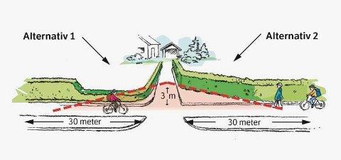 MINST 20 METER: Når du står fire meter inn i avkjørselen din skal du ha minst 20 meter fri sikt i hver retning langs gang- og sykkelveien, ifølge Vegloven. Illustrasjon: Statens vegvesen