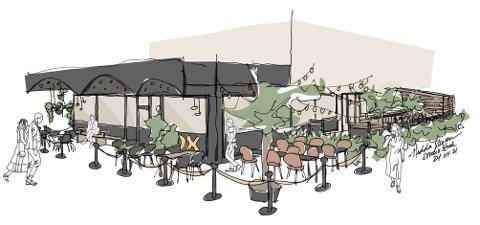 Skisse om hvordan Studio Strek Interiørarkitekter ser for seg Ox Spiseri.