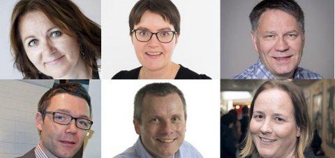 Øverst fra venstre: Reidun Kjelling Nybø, Anne May Knudsen, Tore Bratt, Geir Håvard Hanssen og Lotte Grepp Knutsen.